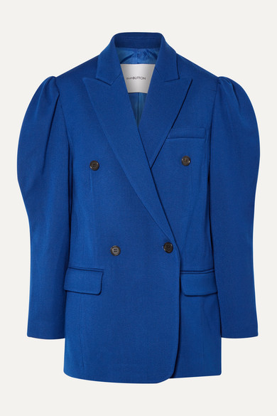 Pushbutton Double-Breasted Wool-Crepe Blazer In Blue