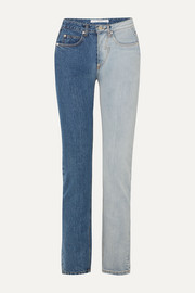 Pushbutton Two-tone high-rise straight-leg jeans