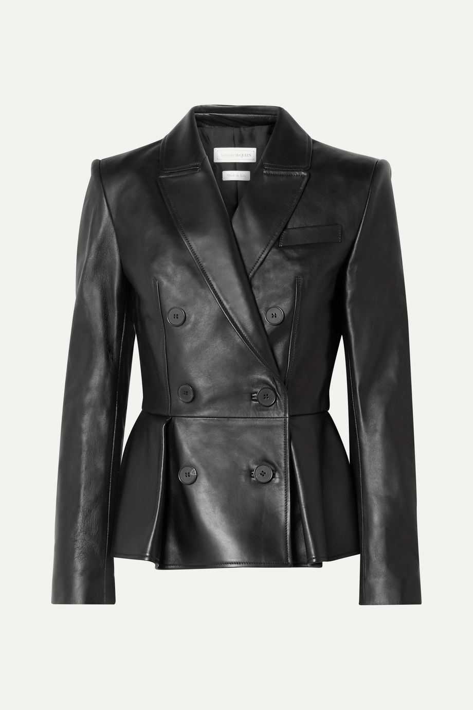 Alexander McQueen Double-breasted pleated leather blazer