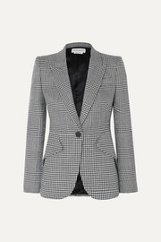 Prince of Wales and houndstooth checked wool blazer