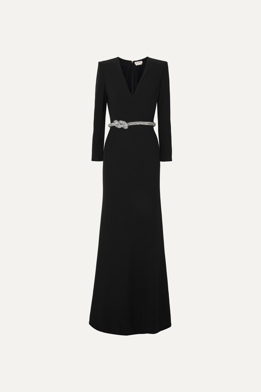 Alexander McQueen Robe du soir en crêpe à cristaux et à ceinture