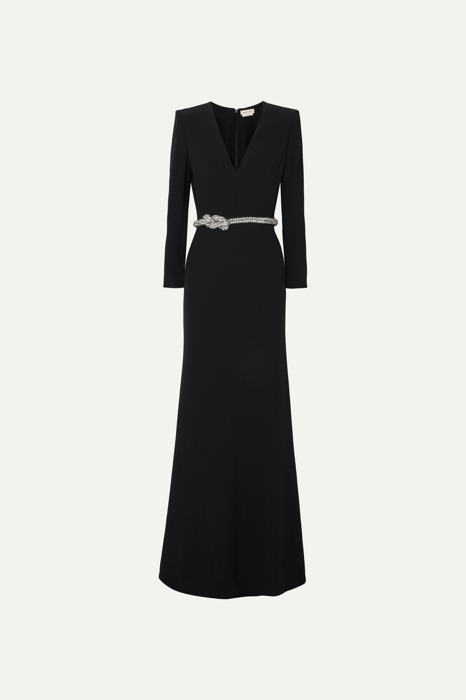 Alexander McQueen Crystal-embellished belted crepe gown