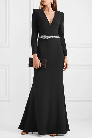 Alexander McQueen – Crystal-embellished Belted Crepe Gown – Black