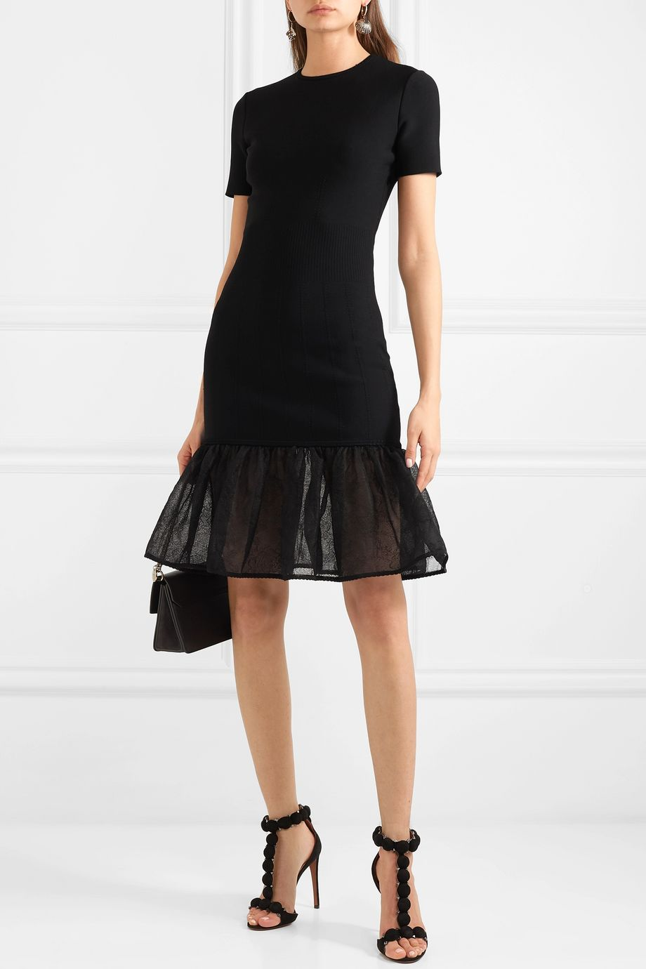Alexander McQueen Tiered lace-trimmed knitted dress