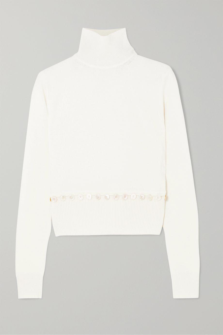 Alexander McQueen Convertible button-detailed wool turtleneck sweater