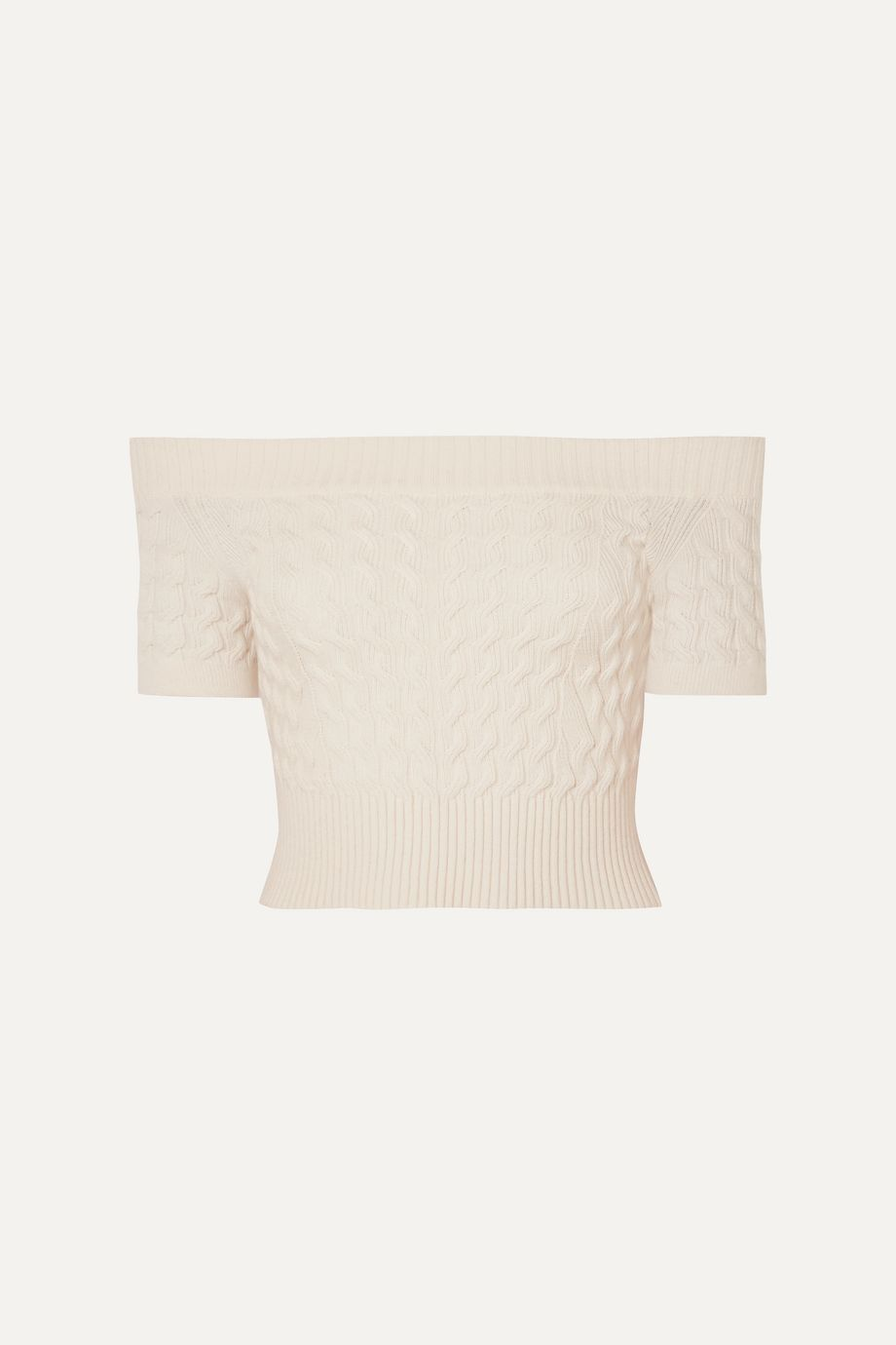 Alexander McQueen Off-the-shoulder cable-knit wool-blend top