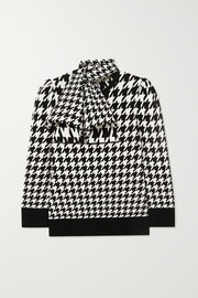 Alexander McQueen Bow-detailed houndstooth wool-blend sweater