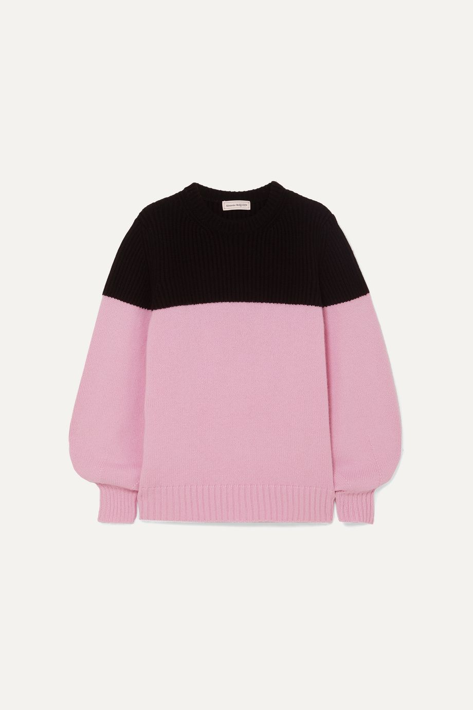 Alexander McQueen Two-tone ribbed cashmere sweater