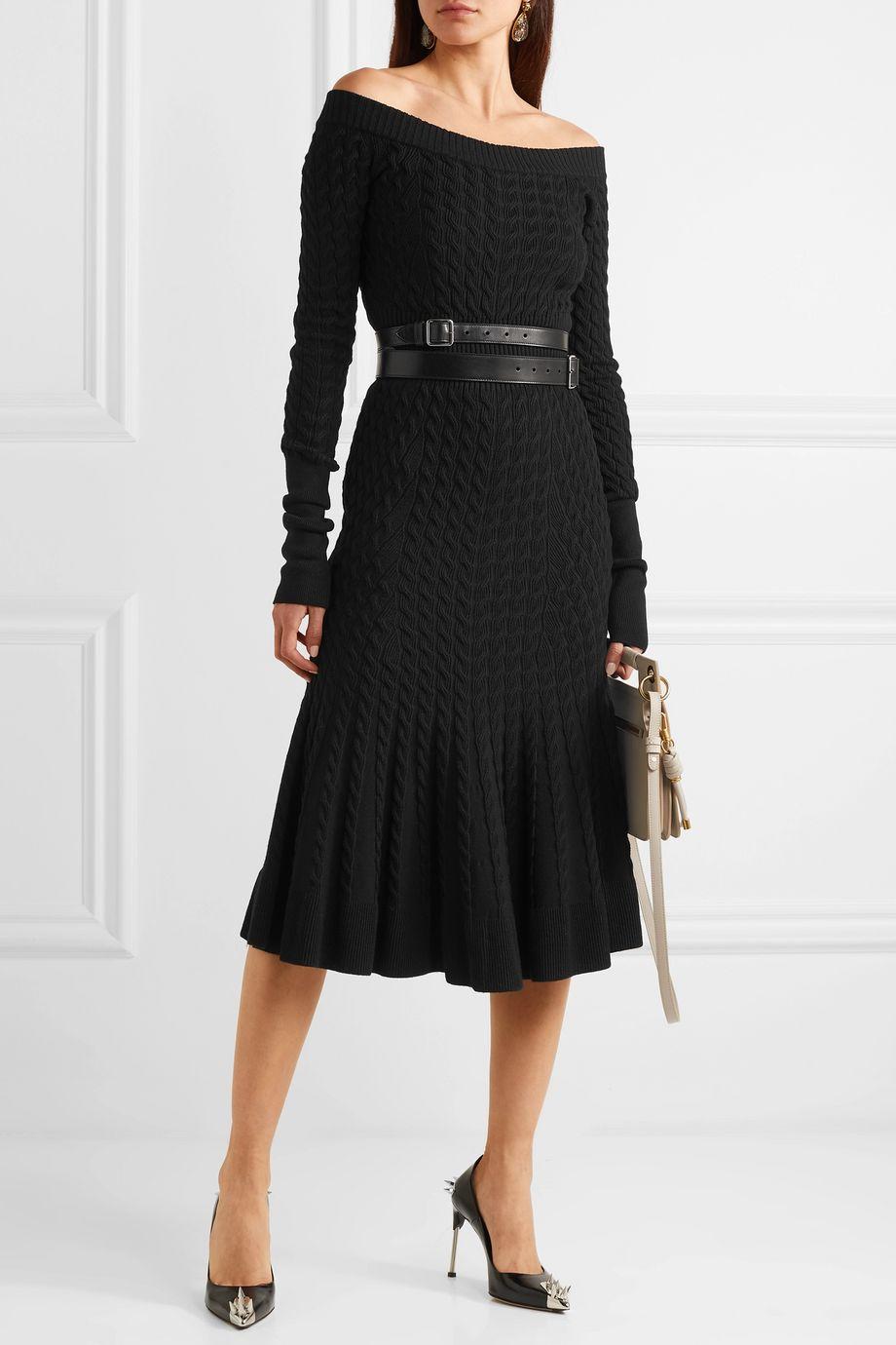 Alexander McQueen Off-shoulder cable-knit wool-blend dress