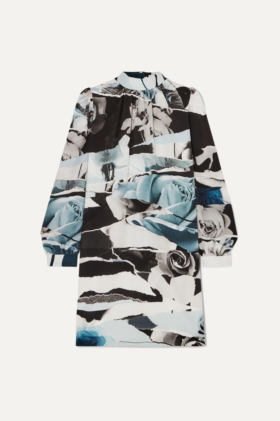 Alexander McQueen Printed silk crepe de chine mini dress