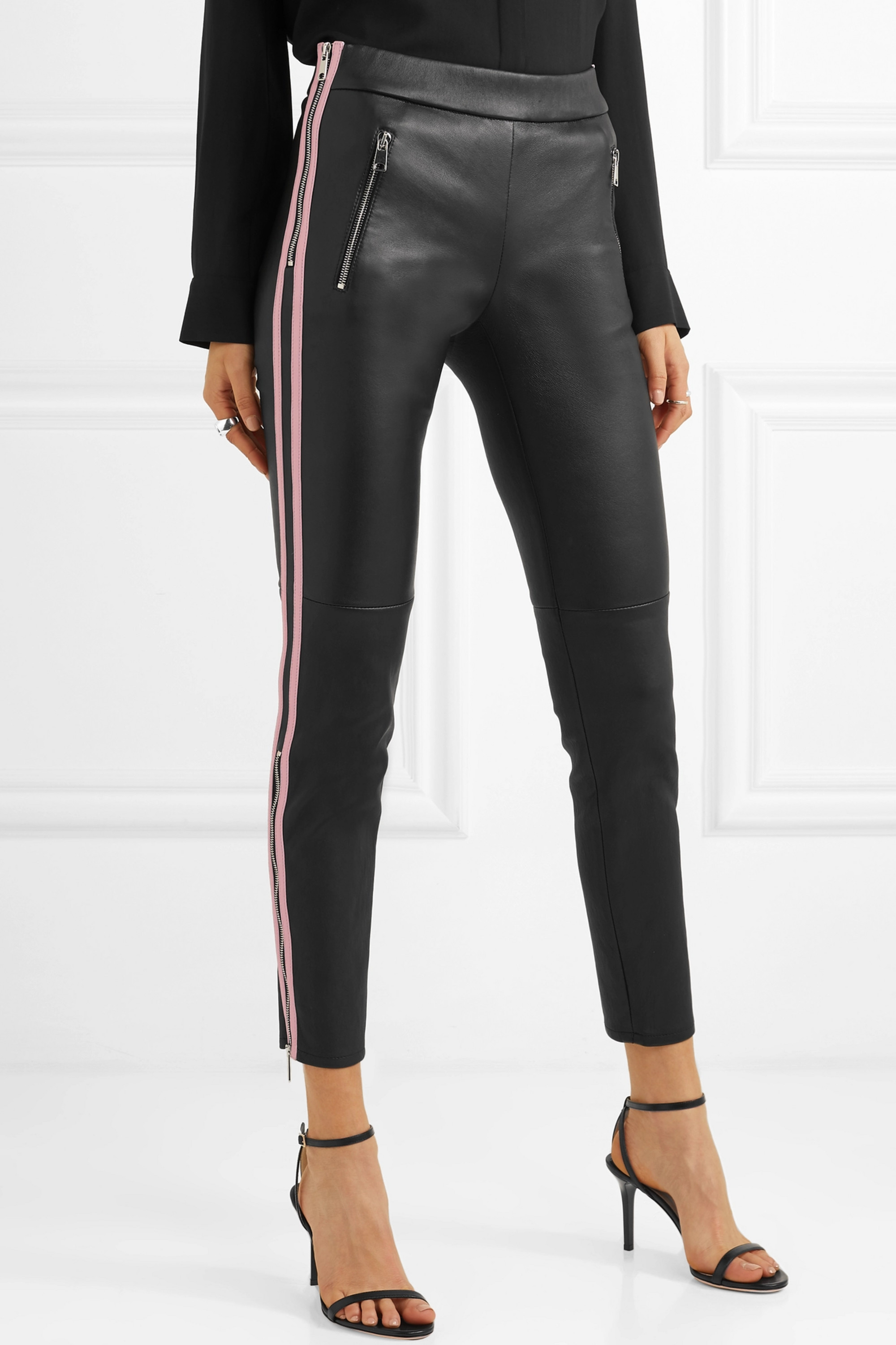 Alexander McQueen Two-tone leather skinny pants