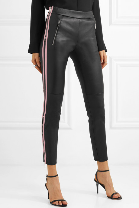 Two-tone leather skinny pants