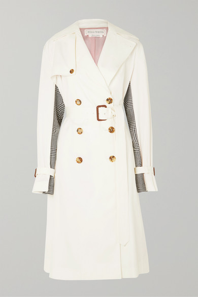 Belted Cotton Gabardine And Houndstooth Wool Trench Coat by Alexander Mc Queen