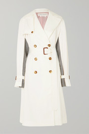 Belted cotton-gabardine and houndstooth wool trench coat
