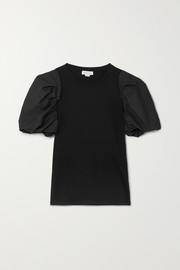 Alexander McQueen Poplin-trimmed stretch-cotton jersey T-shirt