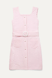 Belted gingham seersucker dress