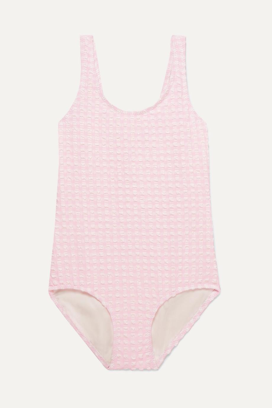 Solid & Striped Kids Gingham stretch-seersucker swimsuit