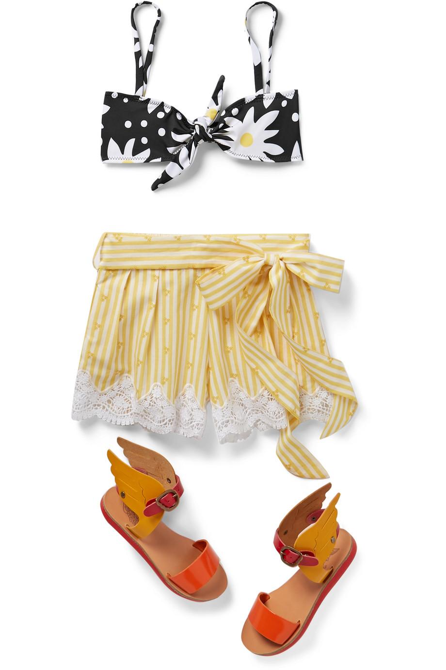 Solid & Striped Kids Knotted floral-print bikini