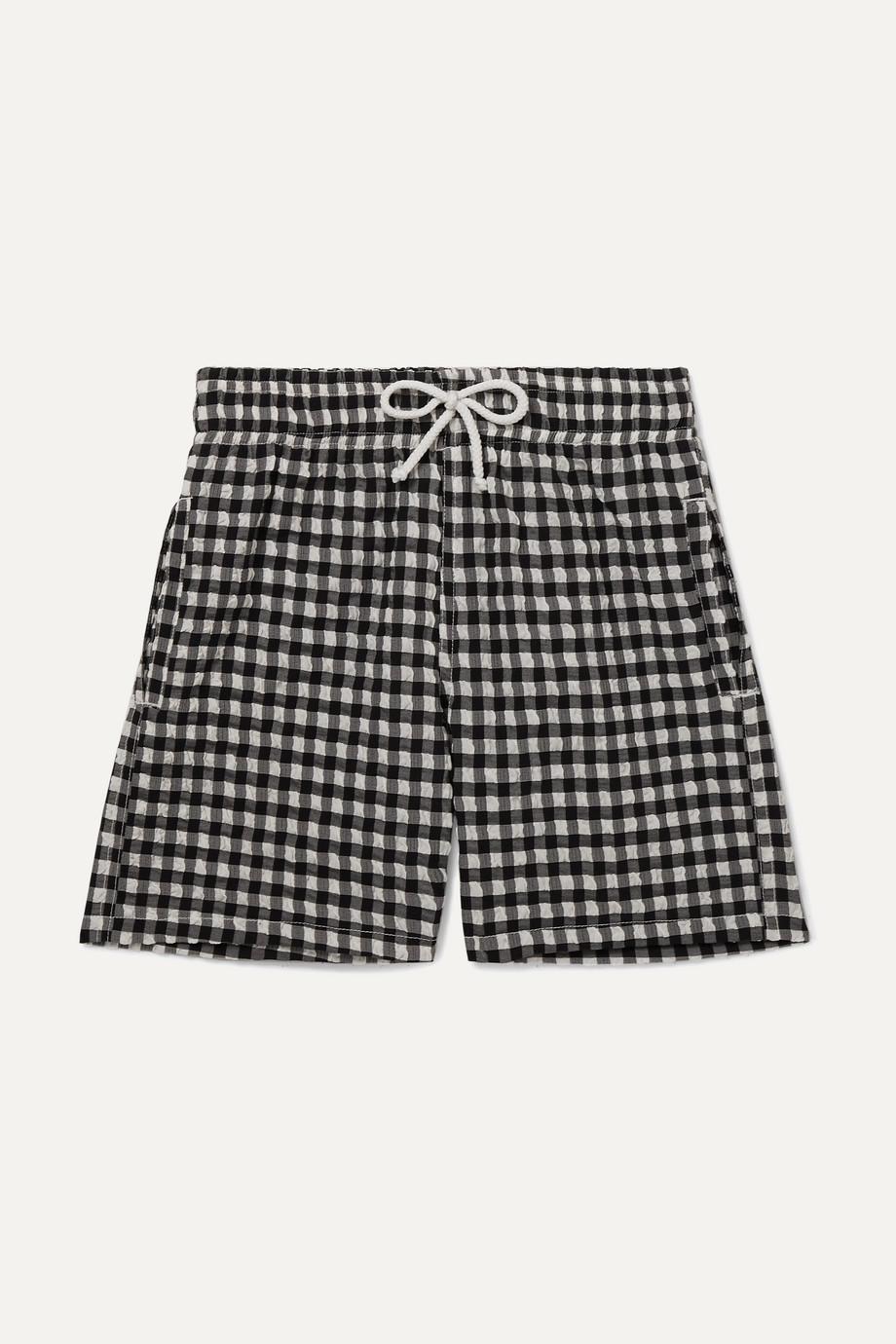 Solid & Striped Kids Gingham stretch-seersucker swim shorts