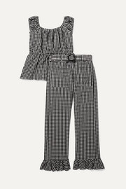 Ruffled gingham seersucker top and pants set