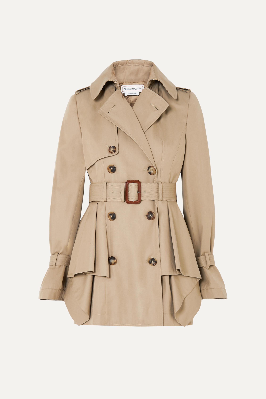 Peplum cotton-gabardine trench coat