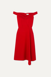 Alexander McQueen Off-the-shoulder asymmetric wool-blend crepe midi dress
