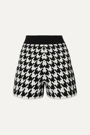 Houndstooth jacquard-knit shorts