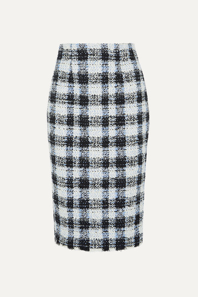 Checked Bouclé Tweed Midi Skirt by Alexander Mc Queen