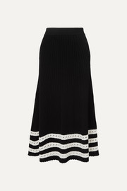 Pointelle-trimmed cable-knit midi skirt