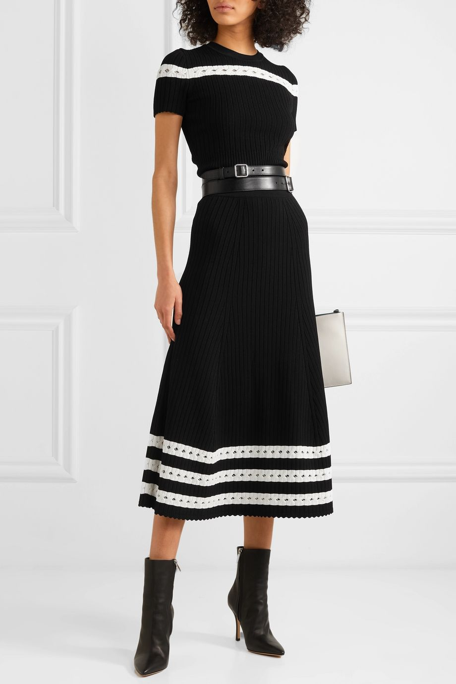 Alexander McQueen Pointelle-trimmed cable-knit midi skirt