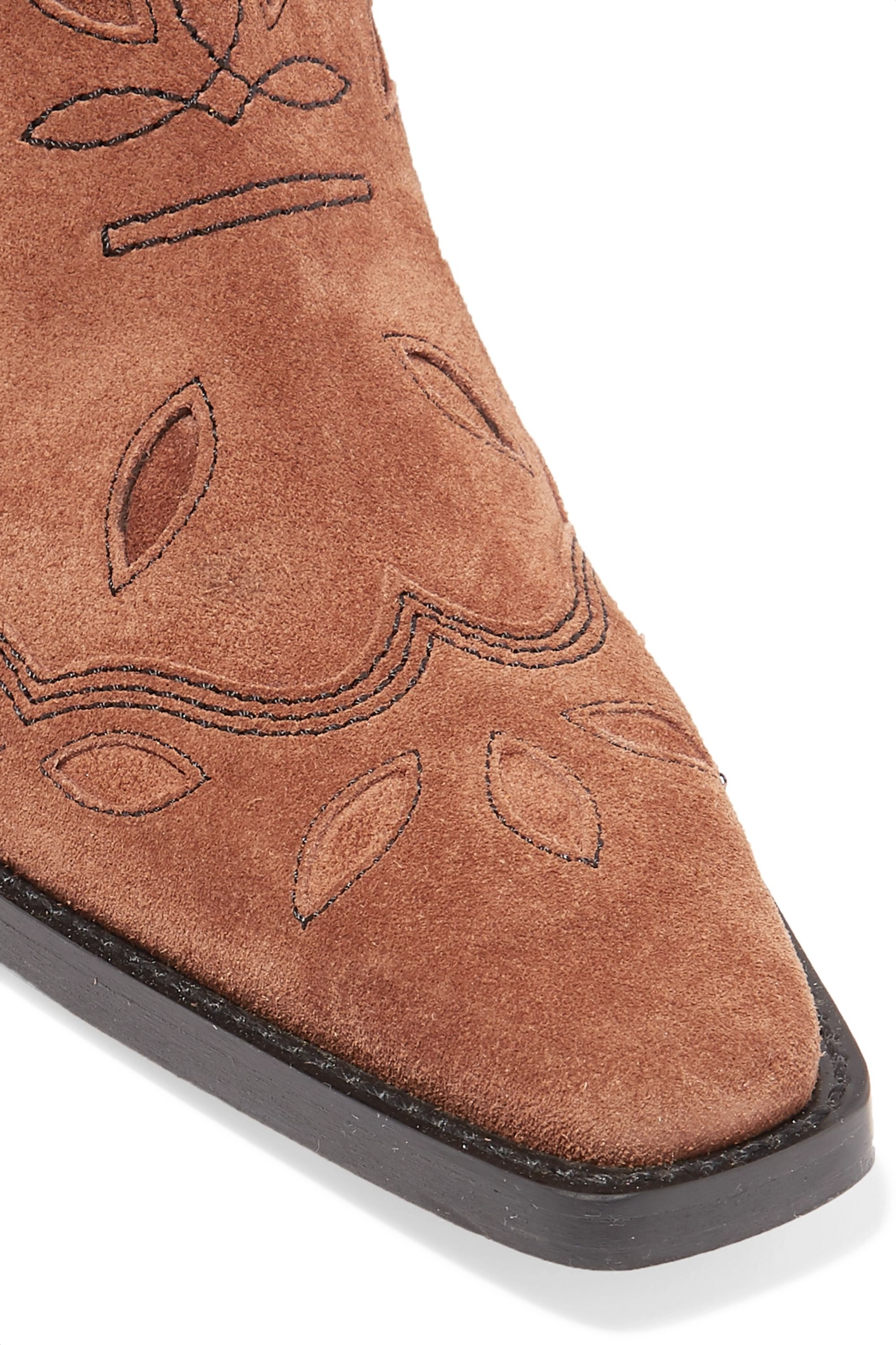 GANNI High Texas embroidered suede boots