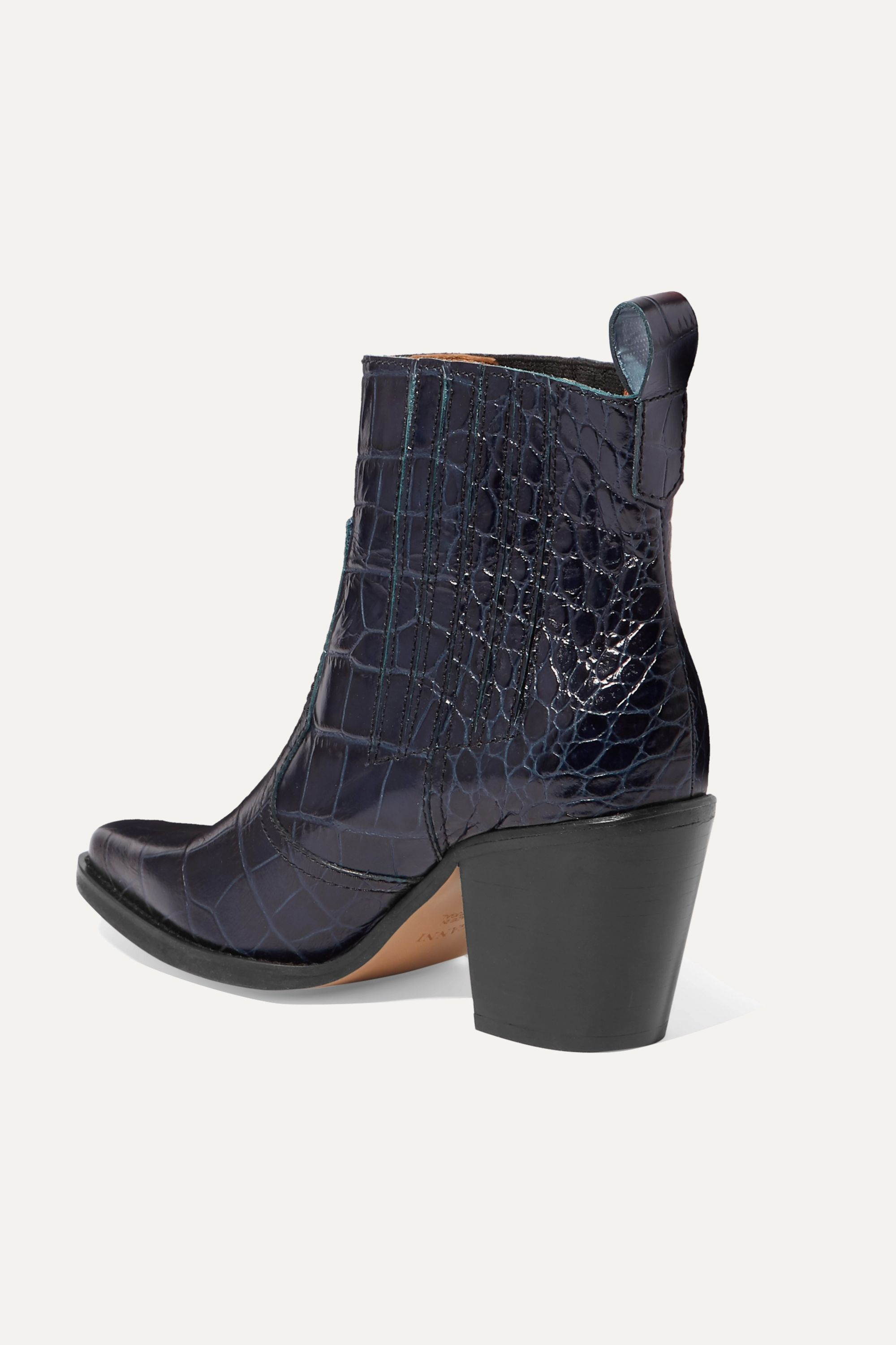Navy Callie croc effect leather ankle