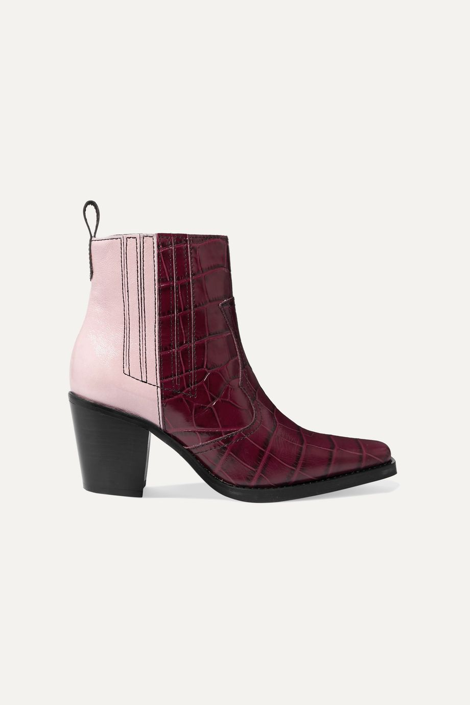 GANNI Callie paneled croc-effect and patent-leather ankle boots
