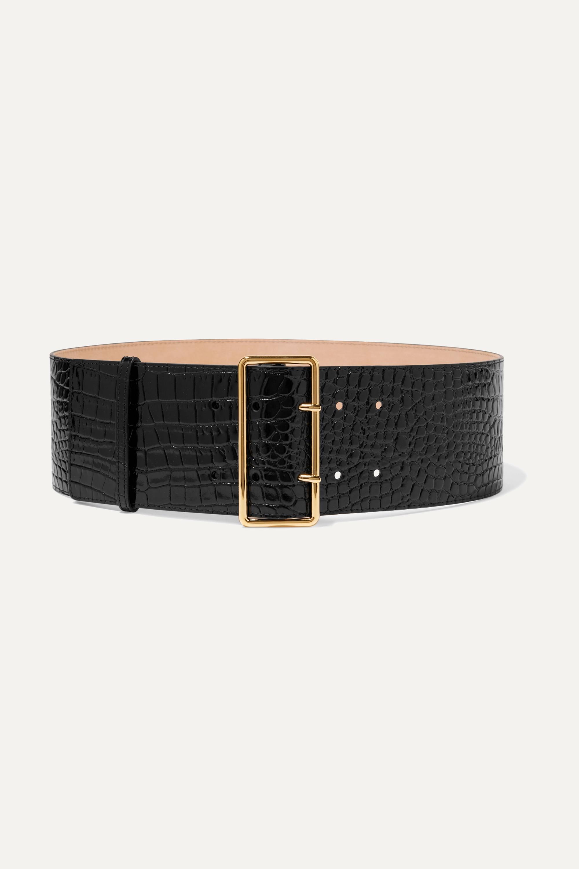 Alexander McQueen Croc-effect patent-leather waist belt