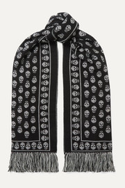 Fringed wool and silk-blend jacquard scarf