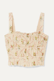 Pleated floral-print cotton-gauze bustier top
