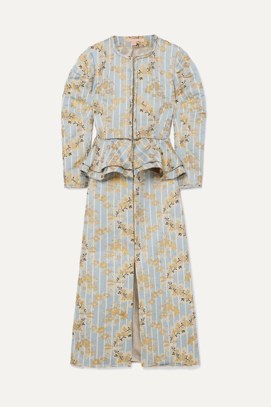 Brock Collection Metallic brocade peplum midi dress