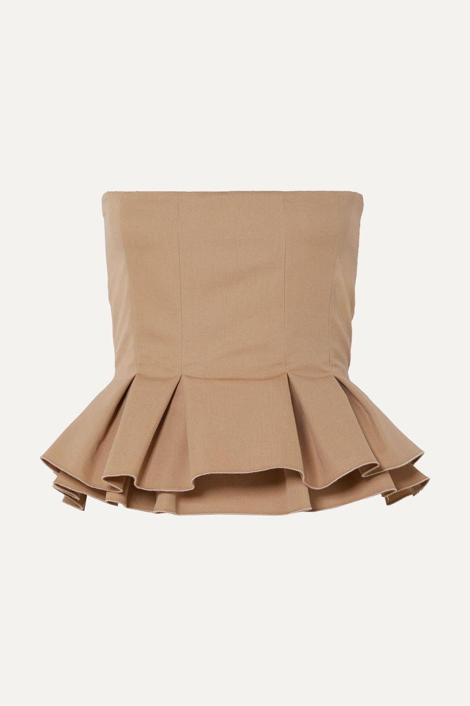 Brock Collection Cotton-poplin peplum bustier top