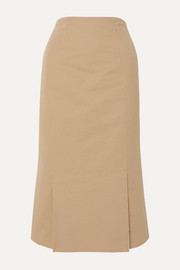 Frayed cotton-poplin midi skirt