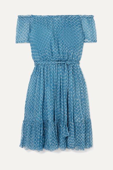 CLOE CASSANDRO | Cloe Cassandro - Pam Pam Off-The-Shoulder Ruffled Printed Silk-Crepon Mini Dress - Blue | Goxip