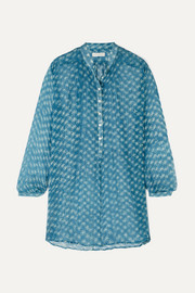 Andrea printed silk-crepon tunic