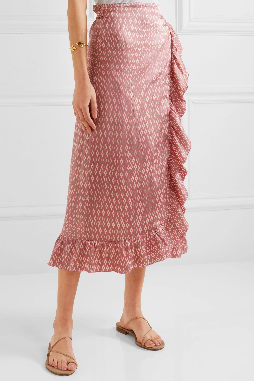 Cloe Cassandro Kimi ruffled printed silk-satin wrap skirt