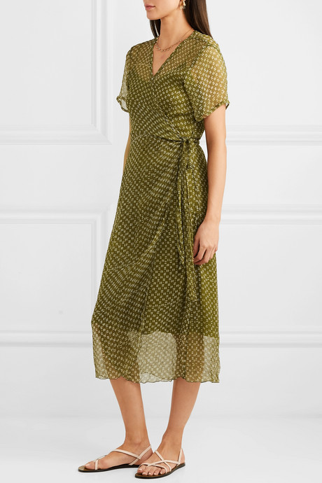 Kimi printed silk-crepon wrap dress