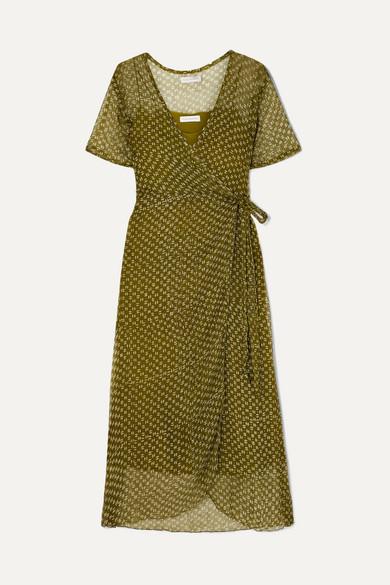 CLOE CASSANDRO | Cloe Cassandro - Kimi Printed Silk-Crepon Wrap Dress - Sage Green | Goxip