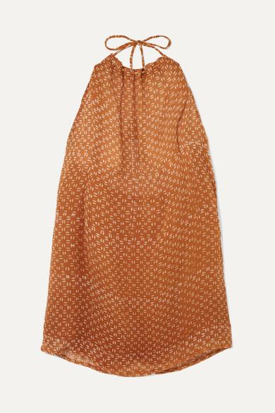 CLOE CASSANDRO | Cloe Cassandro - Indie Halterneck Printed Silk-Crepon Mini Dress - Orange | Goxip