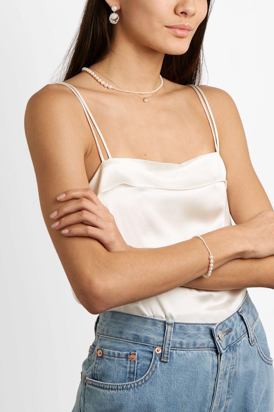 Sophie Bille Brahe Petite Peggy 14-karat gold pearl bracelet