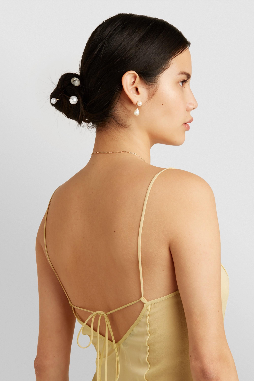 Sophie Bille Brahe Grace Simple 10-karat gold pearl hair slide