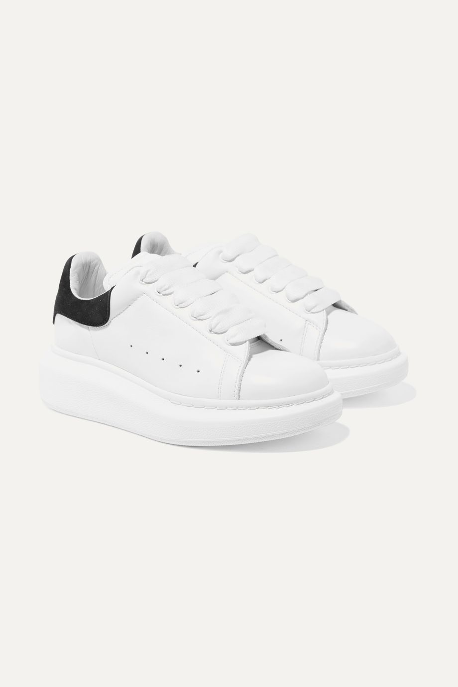Alexander McQueen Kids Suede-trimmed leather exaggerated-sole sneakers