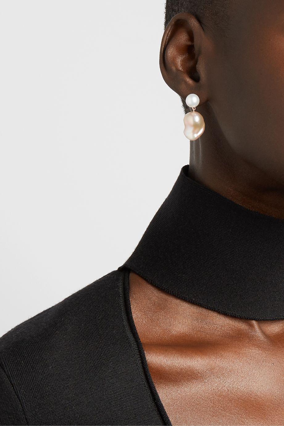 Sophie Bille Brahe Venus Rose 14-karat gold pearl earrings