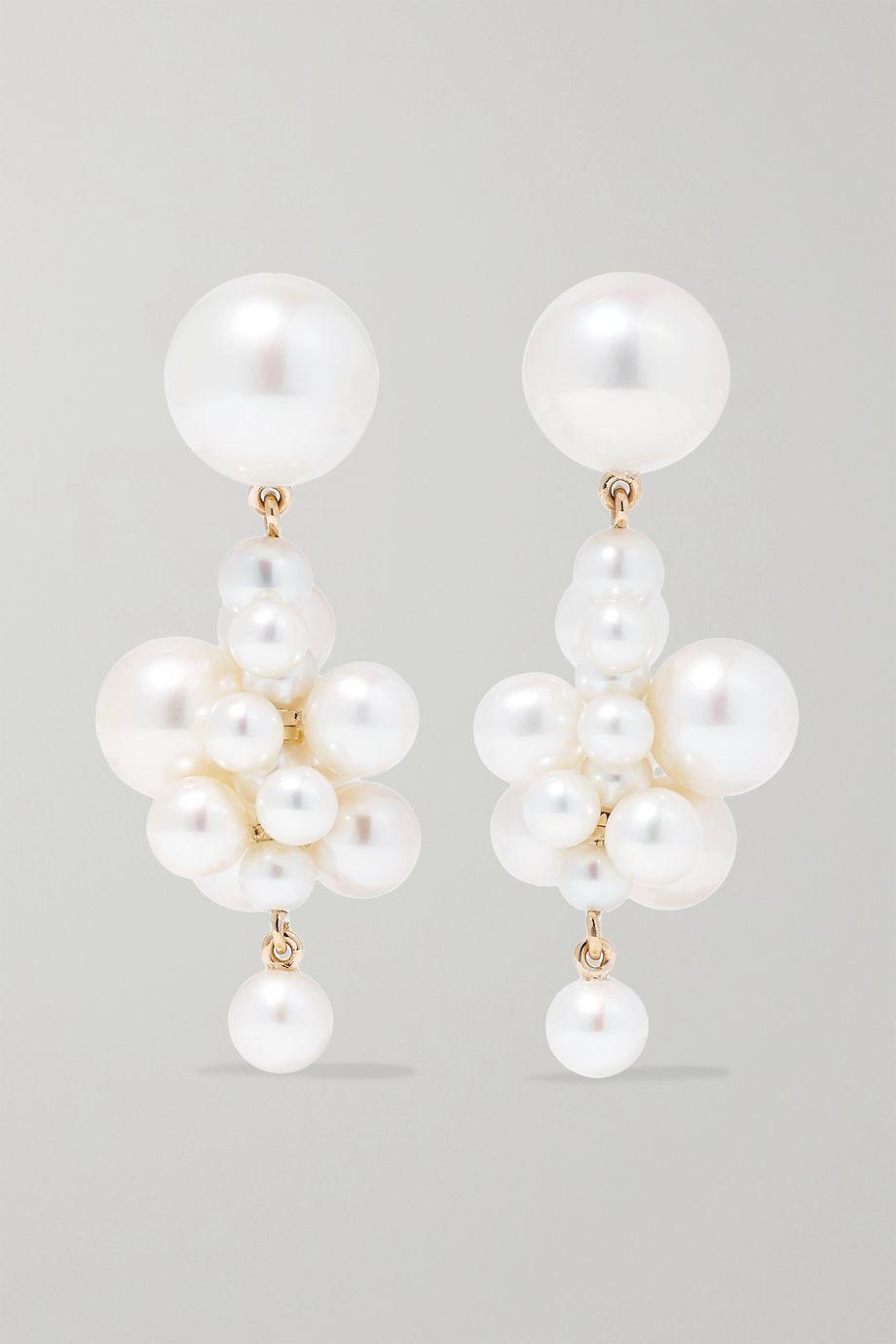 Sophie Bille Brahe Botticelli 14-karat gold pearl earrings
